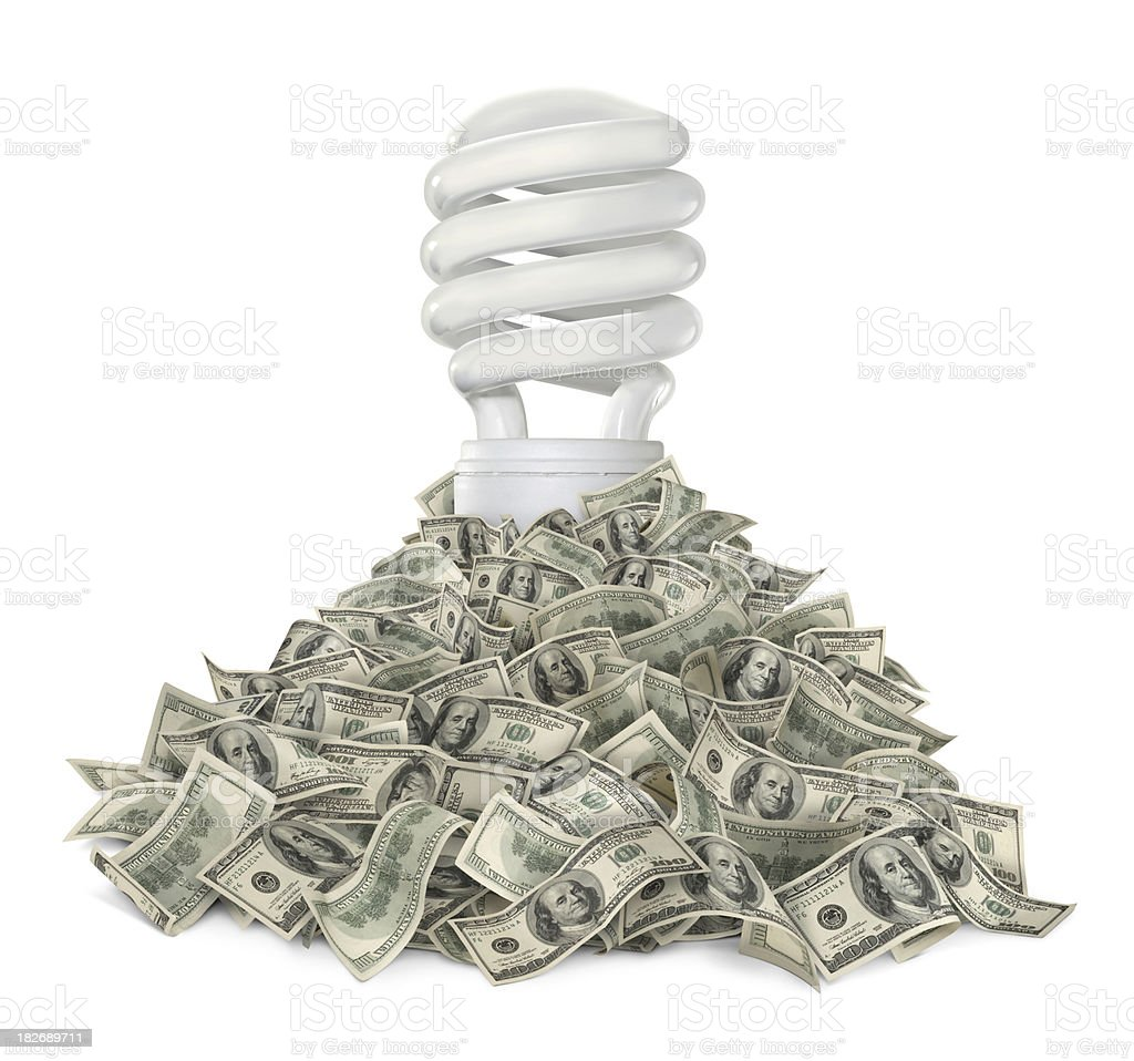Fluorescent Lightbulb and Dollars Compact fluorescent lightbulb in the middle of heap of money (one hundred-dollar bills). Isolated on white background. American One Hundred Dollar Bill Stock Photo