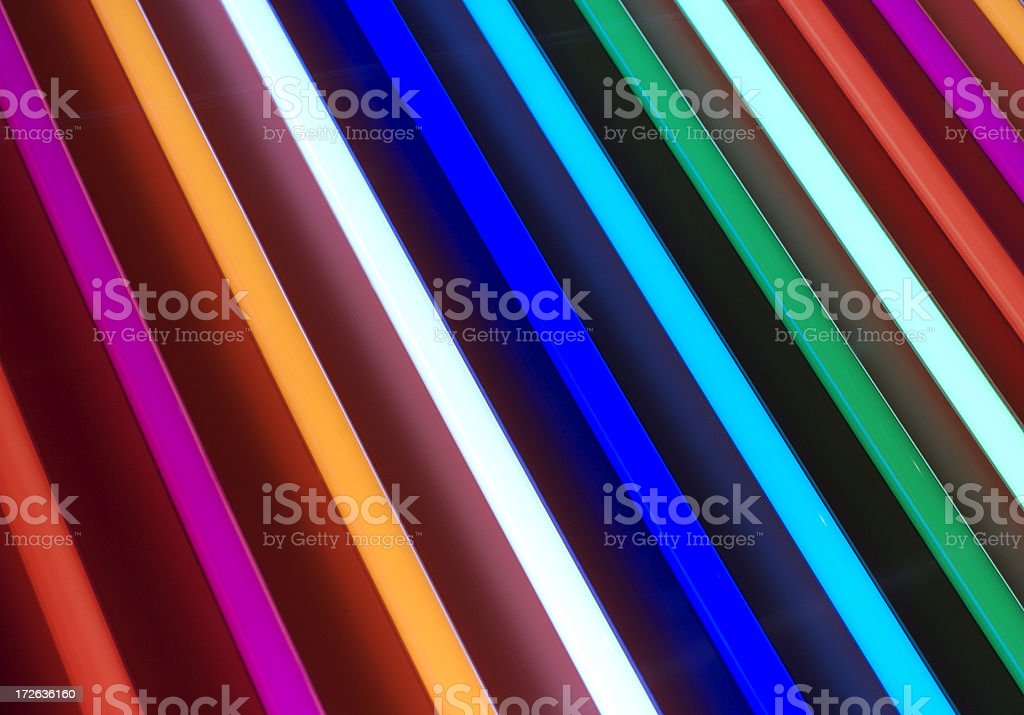 Fluorescent Lights Many Colored Spectrum Full Frame stock photo
