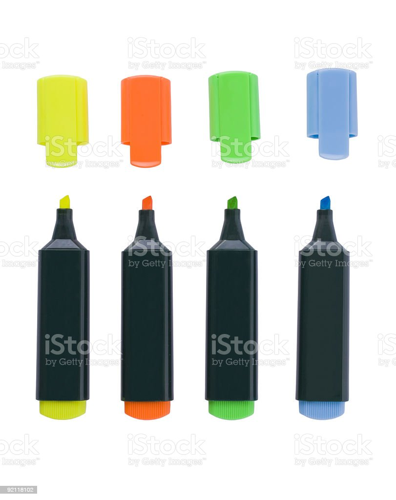 Fluorescent markers royalty-free stock photo