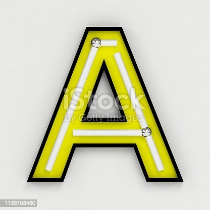 istock Fluorescent white tubes and neon letter A - Night Show Alphabet. 3d Render Isolated on White Background 1133153490
