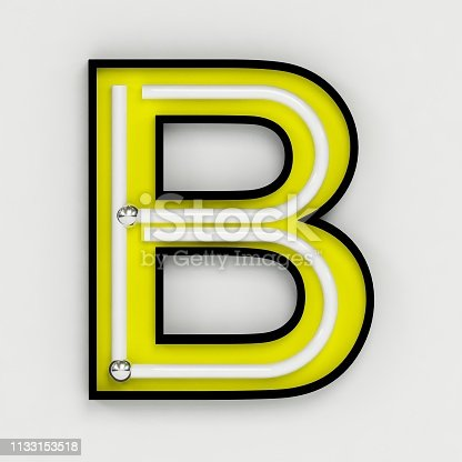 845304606 istock photo Fluorescent white tubes and neon letter B - Night Show Alphabet. 3d Render Isolated on White Background 1133153518