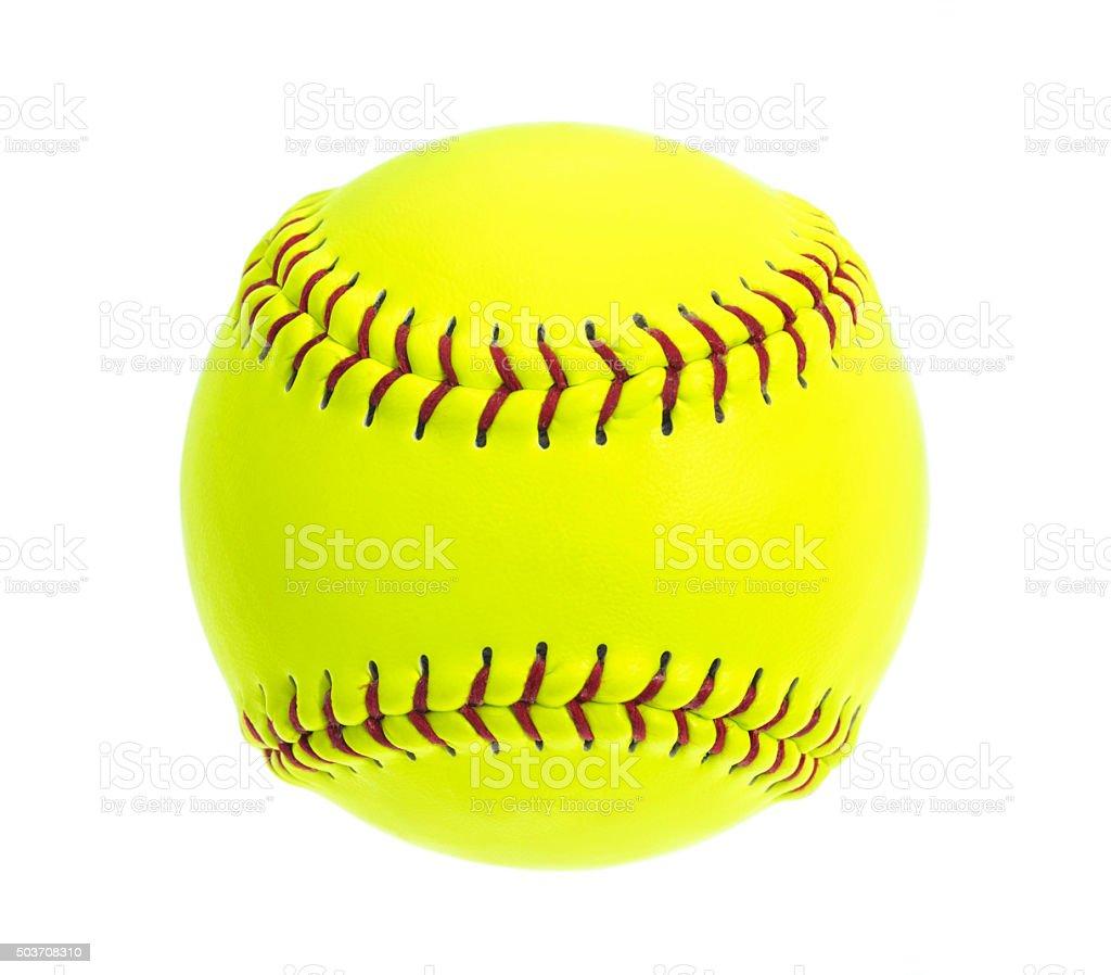Amarillo fluorescente, Softball con red puntos sobre fondo blanco - foto de stock