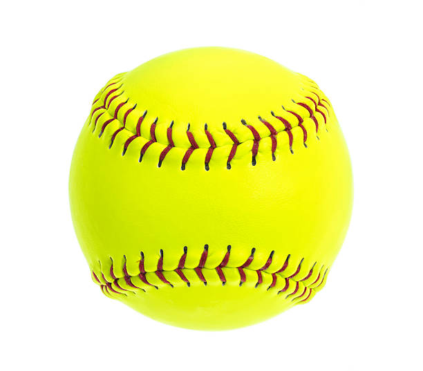 Fluorescent Yellow Softball with red stitches on white background stock photo