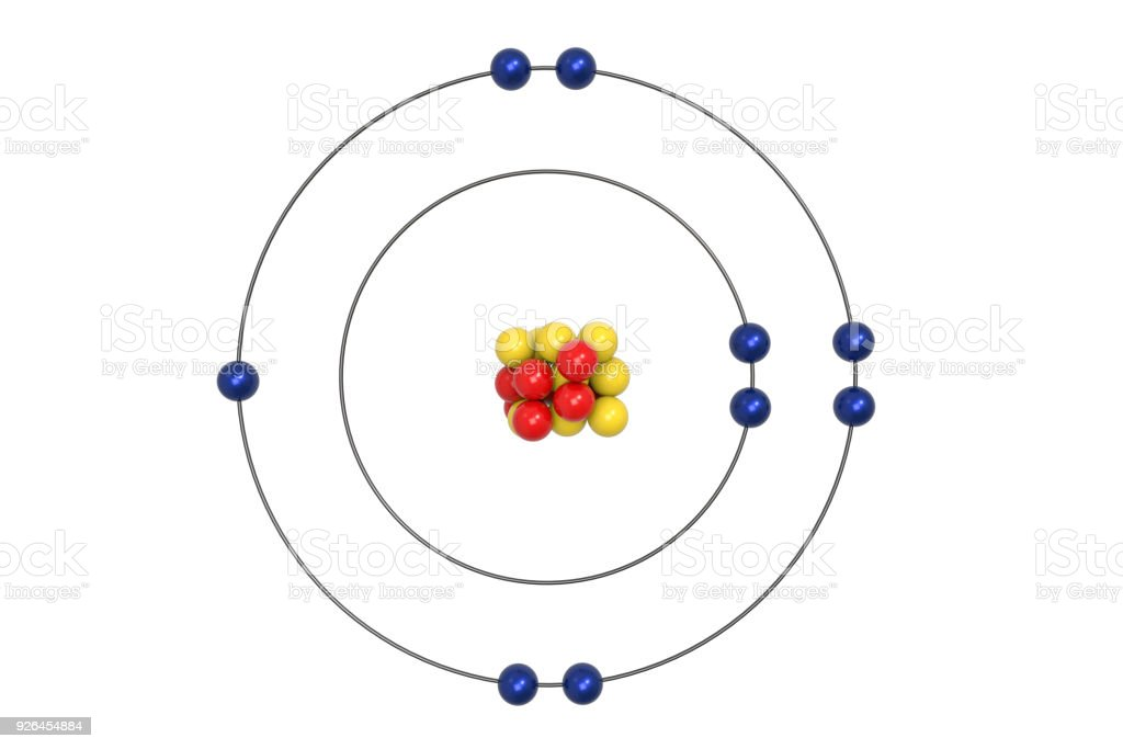 Fluorine Atom Bohr Model With Proton Neutron And Electron Stock