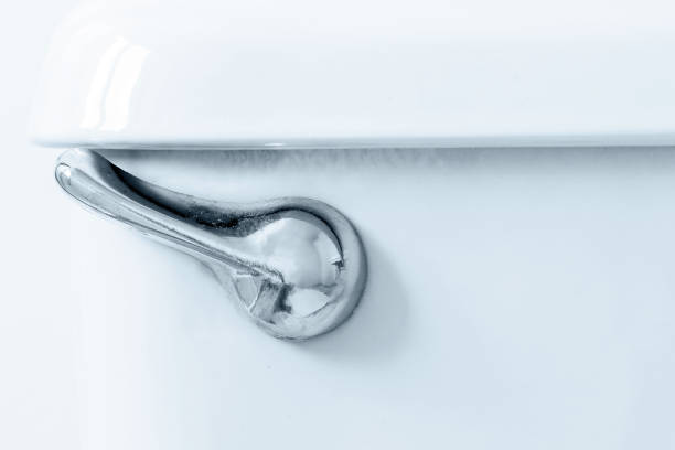 Flush lever Closeup of a toilet flush lever. flushing water stock pictures, royalty-free photos & images