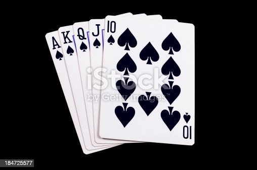 Flush royal cards isolated on black background