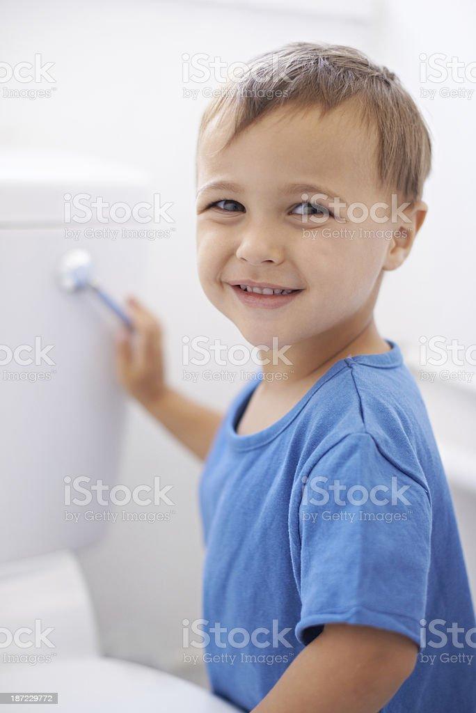 Flushing Away Moms Potty Training Worries Stock Photo