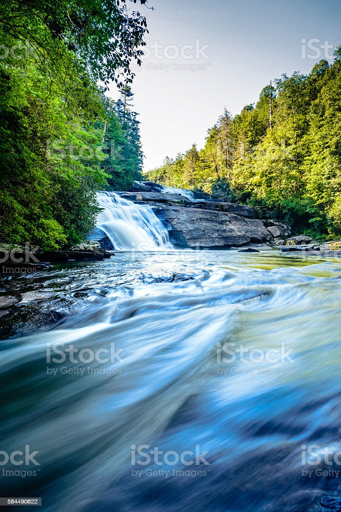Flushing waters of Triple Falls in Western North Carolina stock photo
