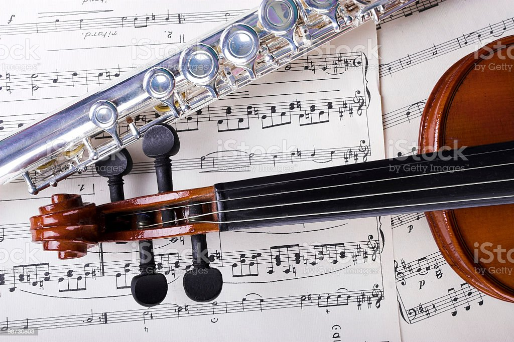 Flute and violin royalty-free stock photo