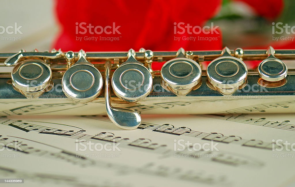 Flute, Music and Rose royalty-free stock photo