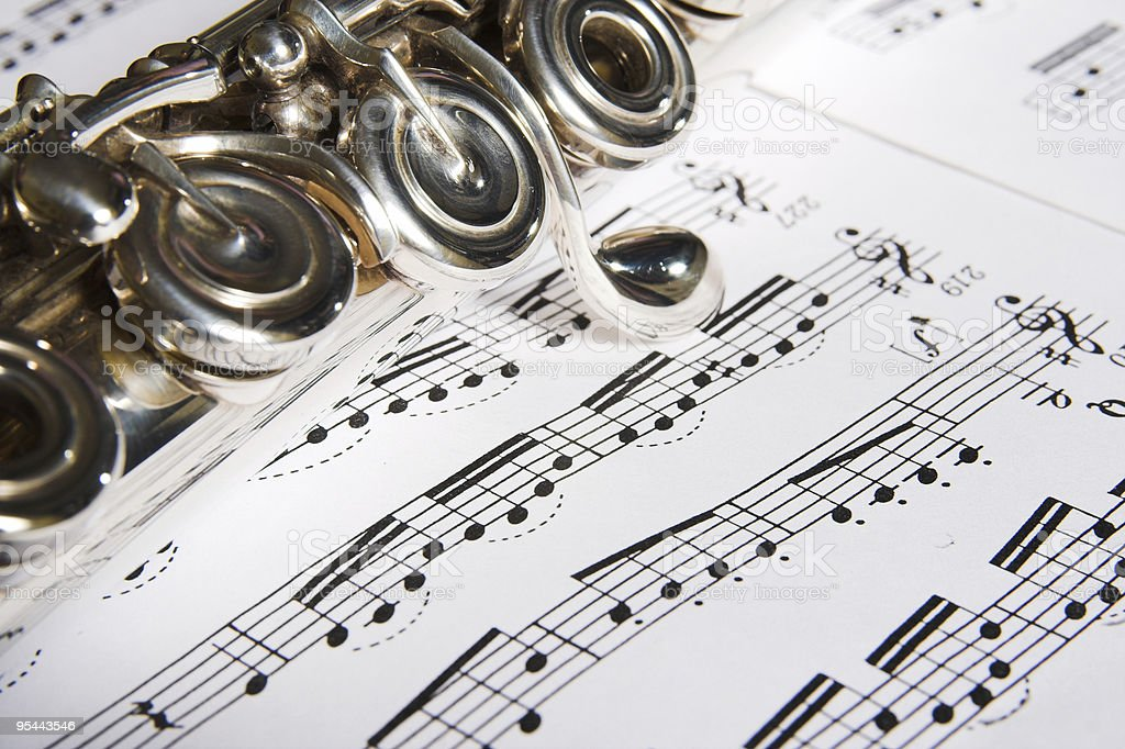 Flute - music background royalty-free stock photo