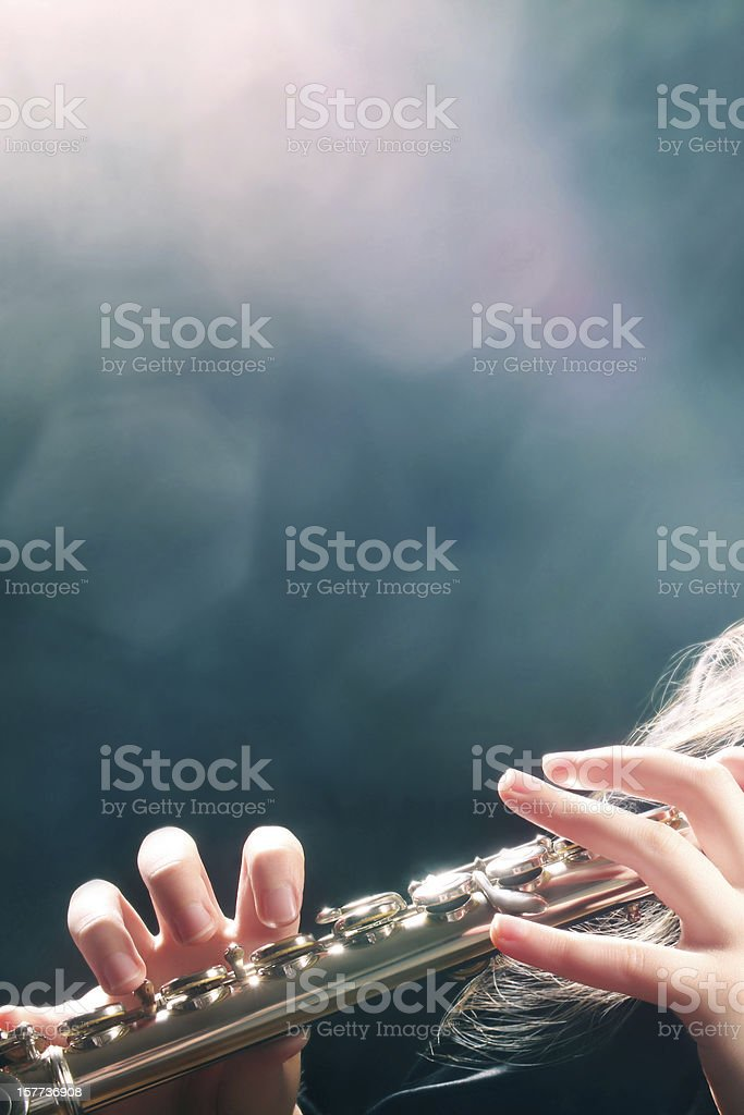 Flute music playing flutist hands stock photo