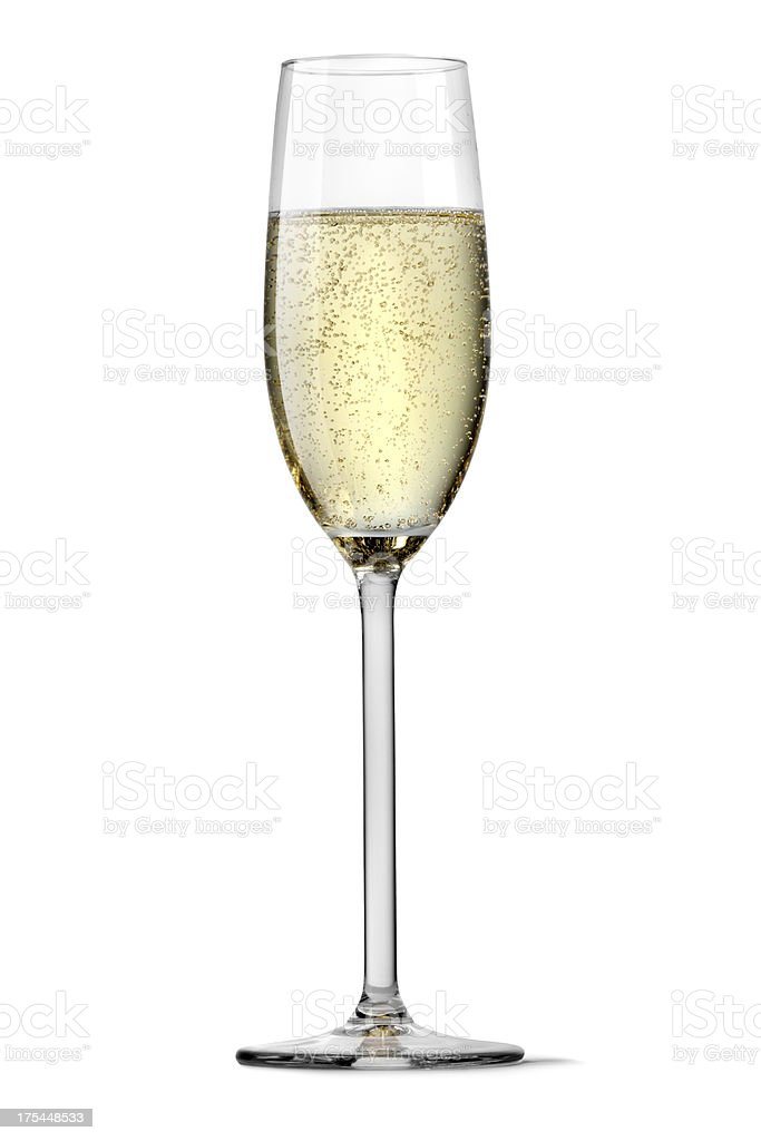 Flute of champagne silhouetted on white background stock photo