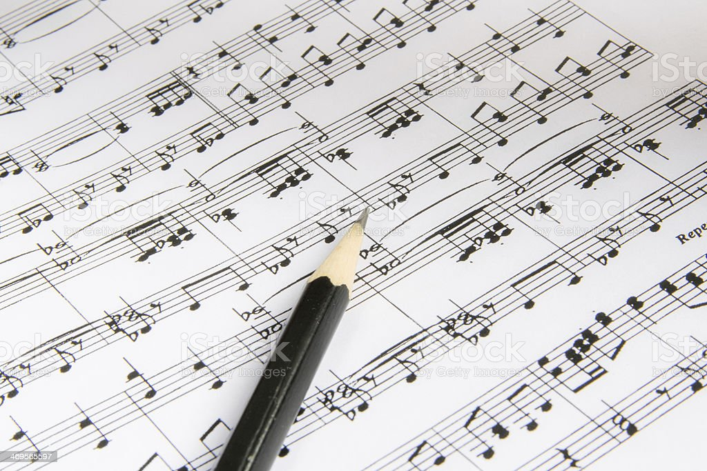 flute on sheet music royalty-free stock photo