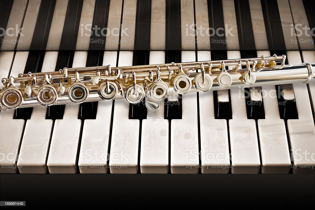 Flute On The Piano stock photo