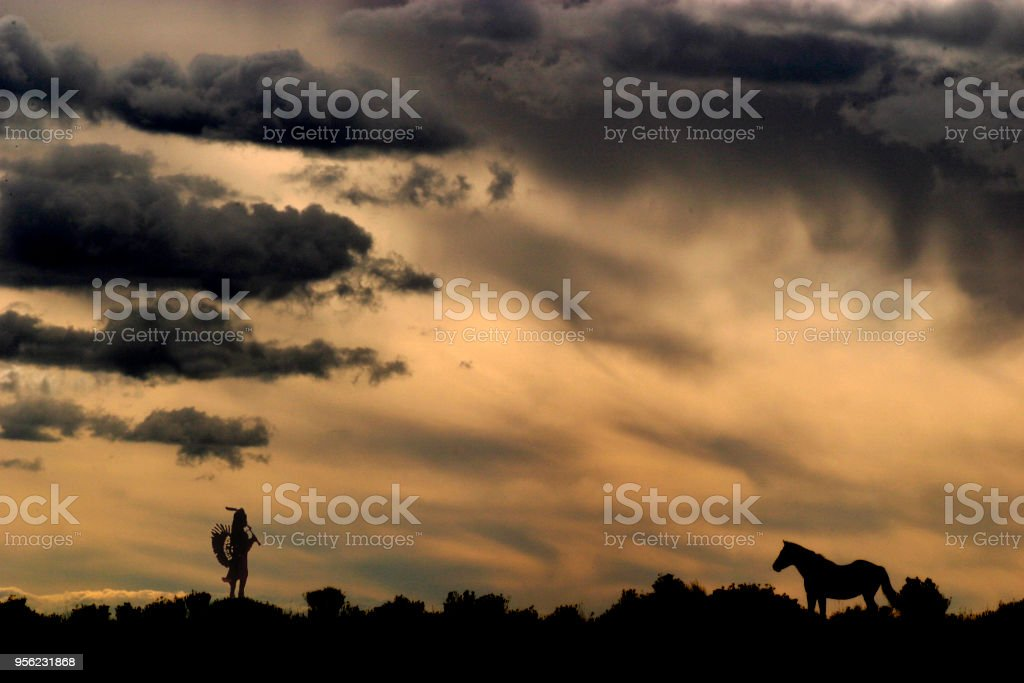 Flute player and horse stock photo