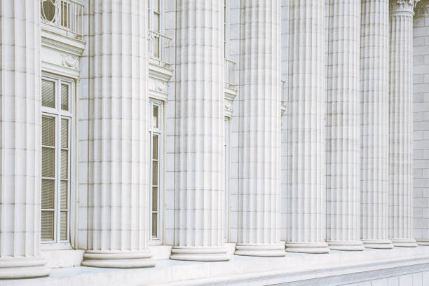 Fluted Marble Columns stock photo
