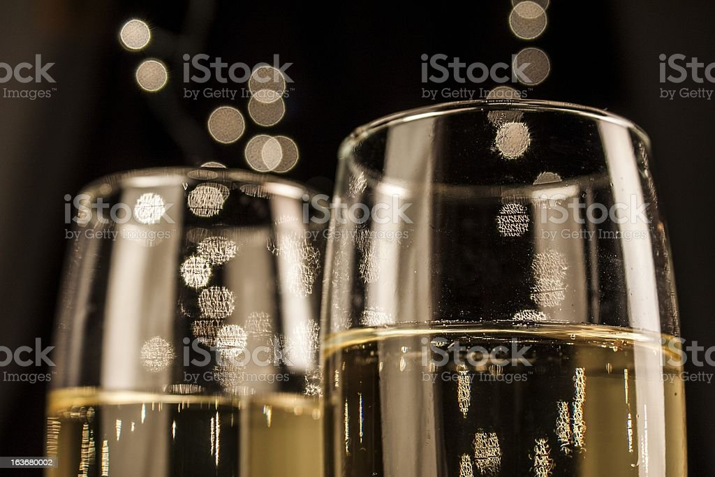 Flutes of champagne in holiday royalty-free stock photo