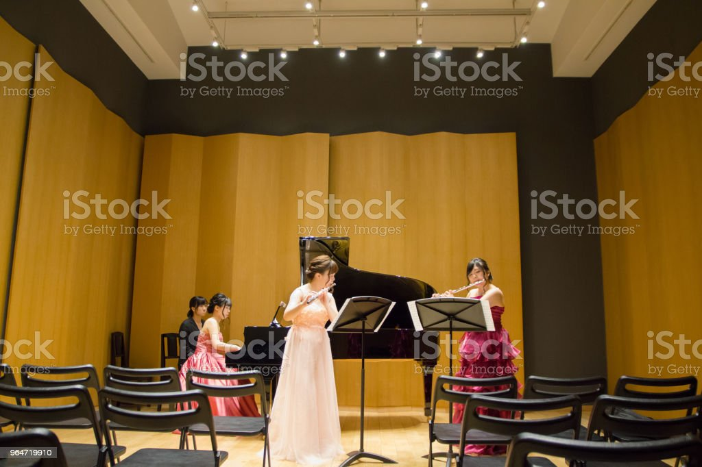 Flutist and Pianist Playing Music in a Concert, Rehearsal royalty-free stock photo