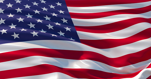 istock Fluttering silk flag of United States of America. Old Glory in the wind, colorful background 1133809617