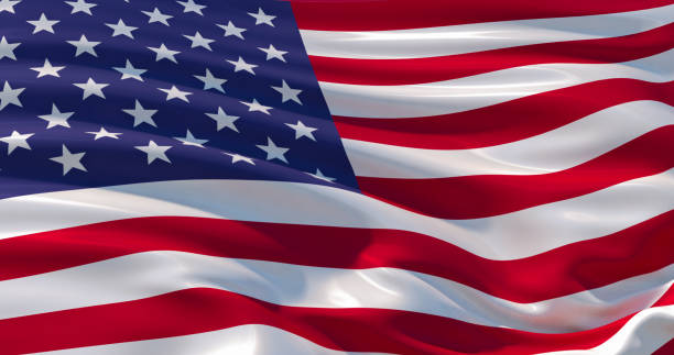 Fluttering silk flag of United States of America. Old Glory in the wind, colorful background stock photo