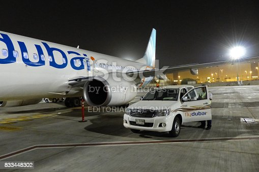 istock Fly dubai airlines plane just landed in Dubai International Airport 833448302