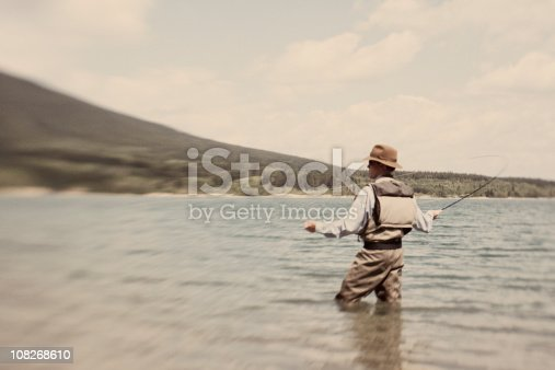 A fly fisherman casts his line. Taken at iStockphoto HQ Lypse.