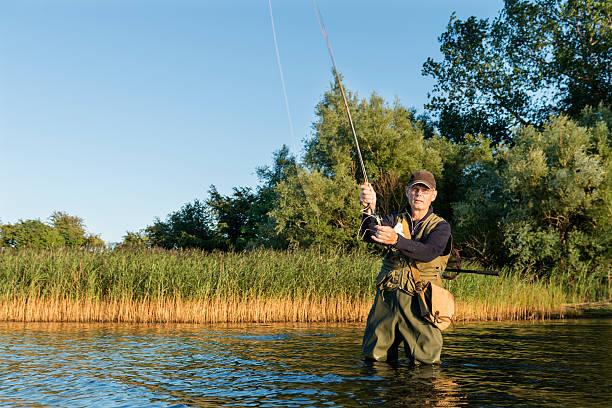 fly fisherman casting seine linie - angeln dänemark stock-fotos und bilder
