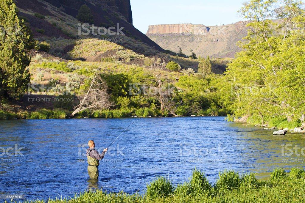 Fly Fisherman Deschutes River royalty-free stock photo