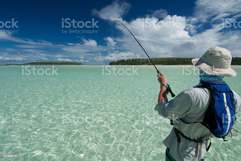 fly fisherman hooked up stock photo