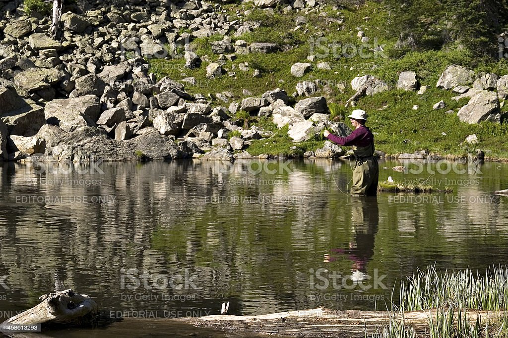 Fly fisherman In A Mountain Lake, Rocky Mountain National Park stock photo