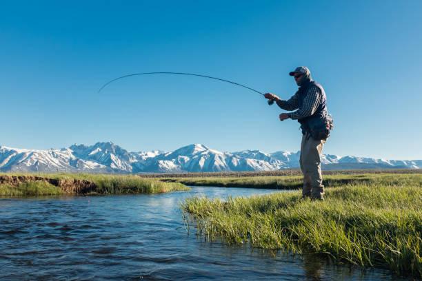 voar de pescadores ao longo do córrego da montanha de primavera - pescaria com iscas artificiais - fotografias e filmes do acervo