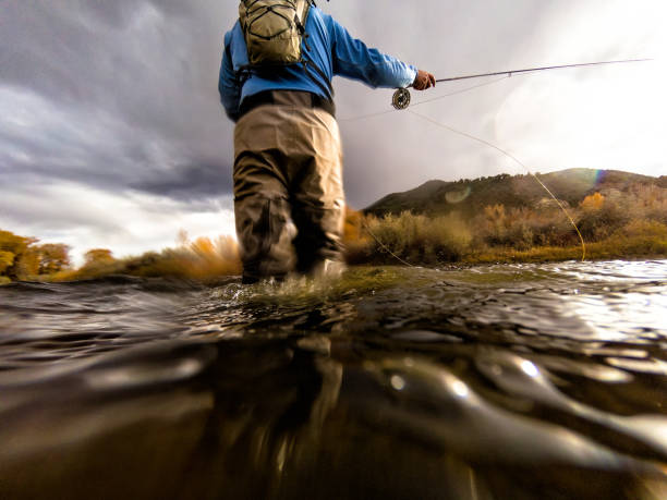 Fly Fishing Casting Fly Fishing Casting - Scenic river location lifestyle and leisure outdoor life. casting stock pictures, royalty-free photos & images