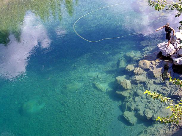 pesca com mosca nas montanhas rochosas cristalinas rio - pescaria com iscas artificiais - fotografias e filmes do acervo