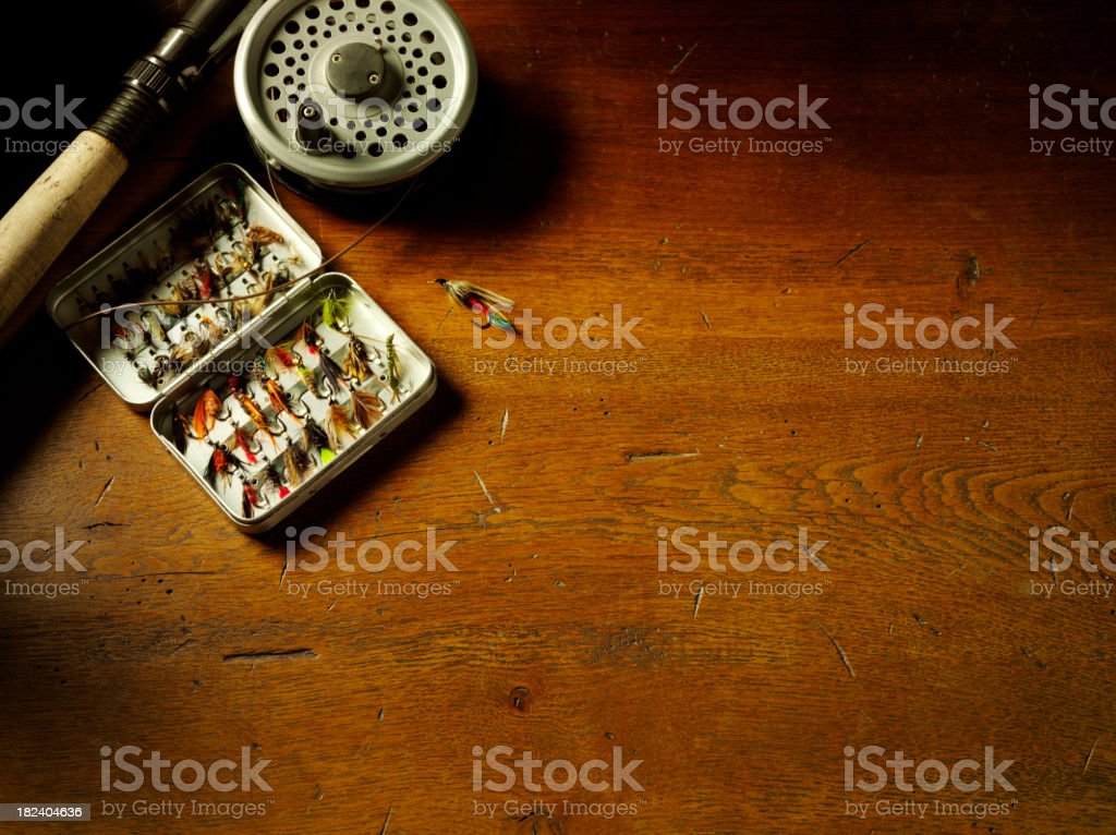 Fly Fishing Feathers and Tackle royalty-free stock photo