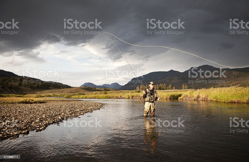 Fly Fishing For Trout on a Western United States River. stock photo