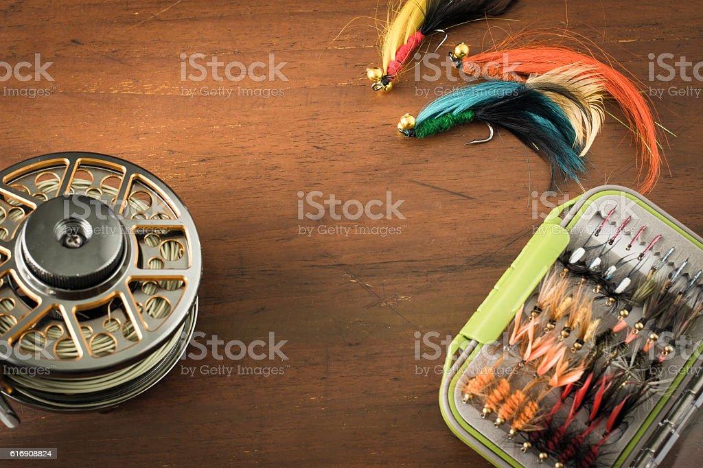 Fly fishing gear stock photo