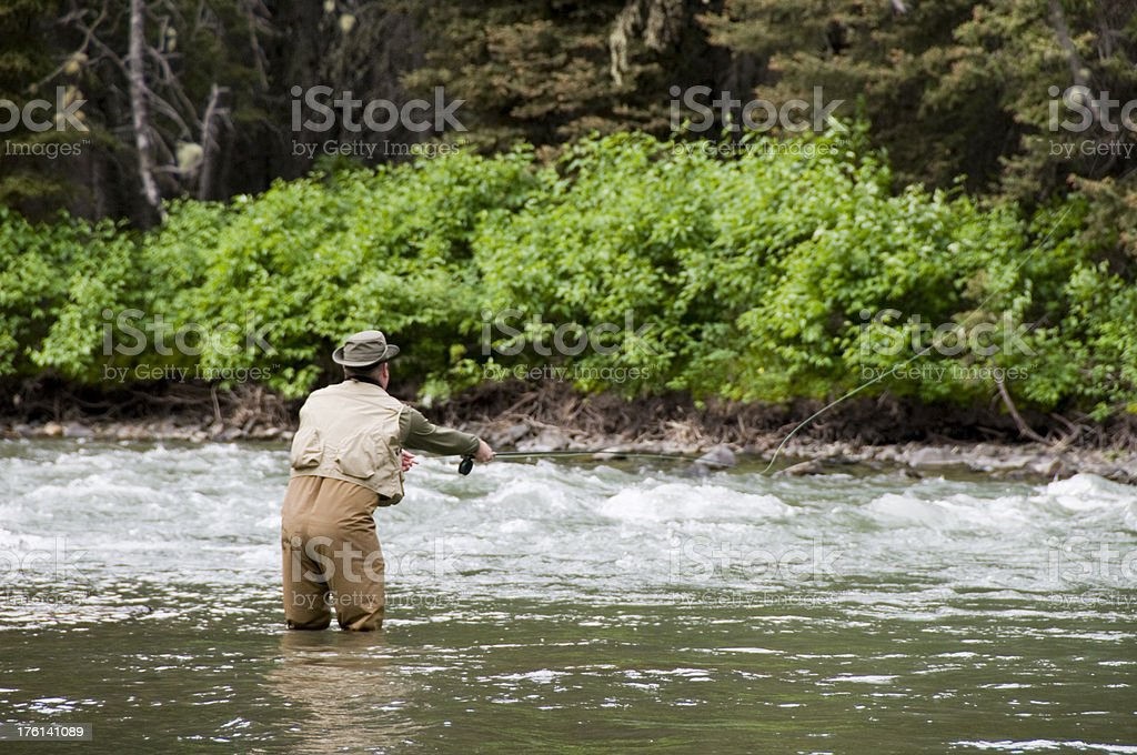 Fly Fishing in Montana royalty-free stock photo