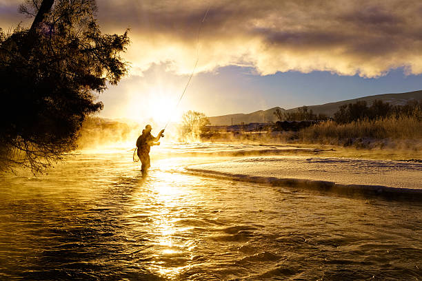 Fly Fishing in Winter at Sunrise stock photo