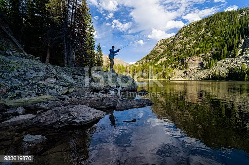 Fly Fishing on Mountain Lake - Man casting and fishing in scenic landscape environment.