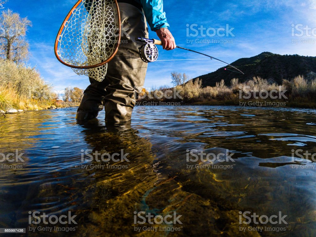 Fly Fishing on Scenic River stock photo