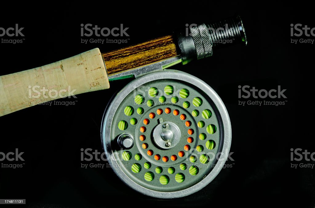 Fly Fishing Rod and Reel on  black royalty-free stock photo