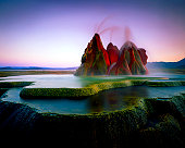 Fly Geyser, located in Nevada was photographed after sunset. Original shot on 4x5 film.