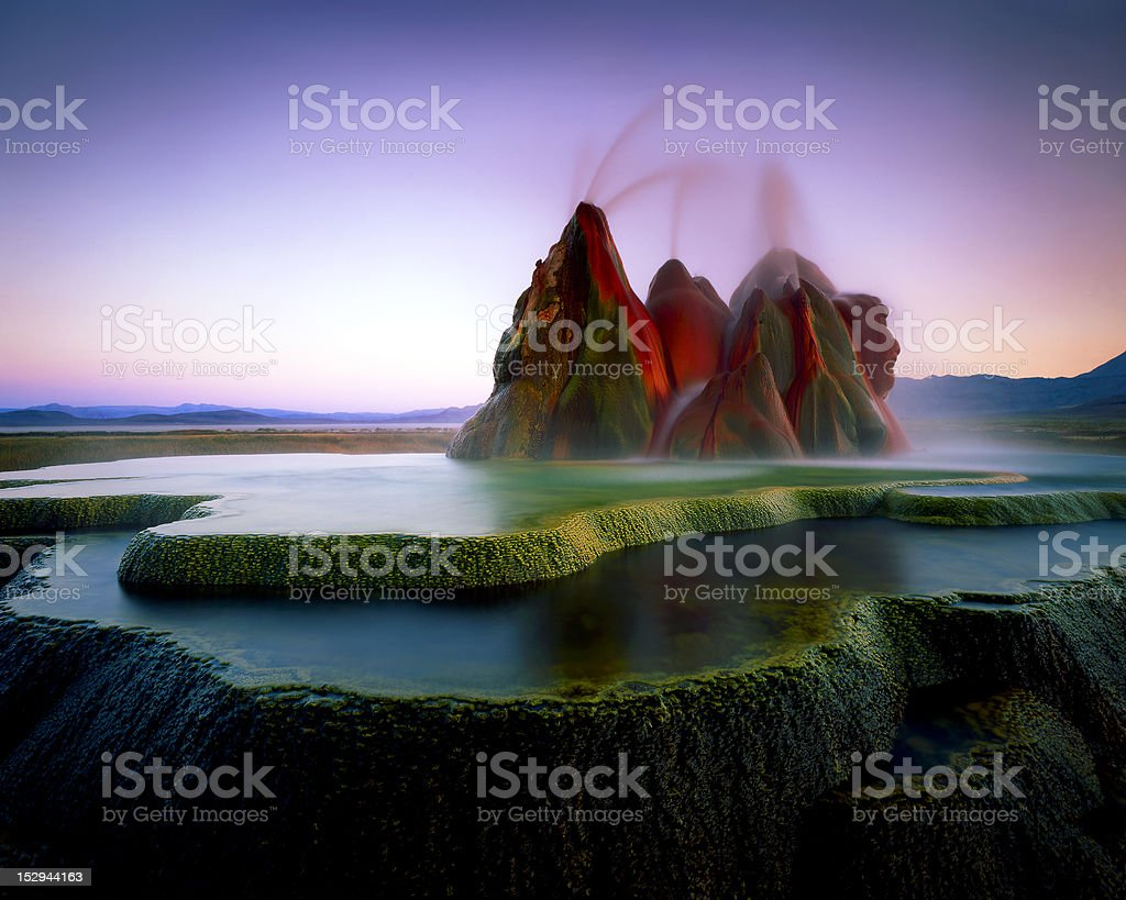 Fly Geyser Evening stock photo
