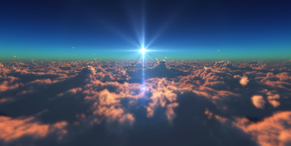 istock fly in above clouds sun ray 955128858