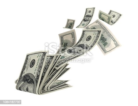 Fly money on a white background