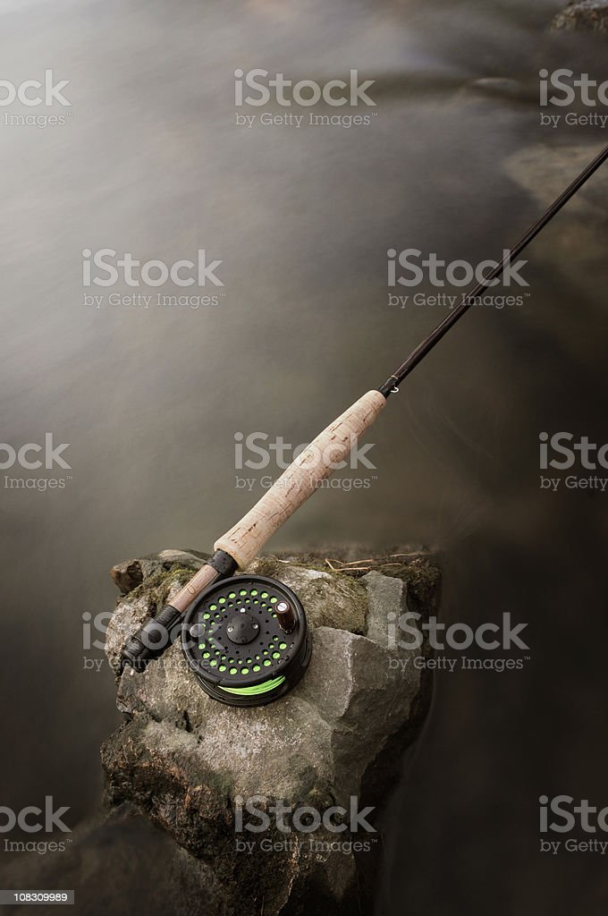 Fly Rod in Moving Stream stock photo
