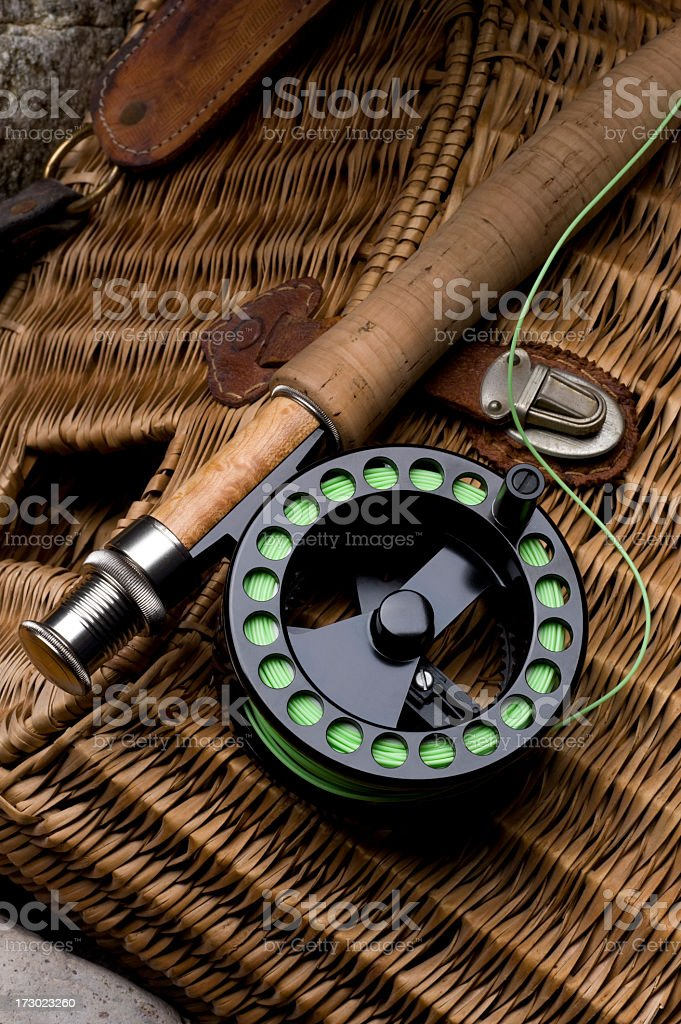 Fly rod, Reel and Creel royalty-free stock photo