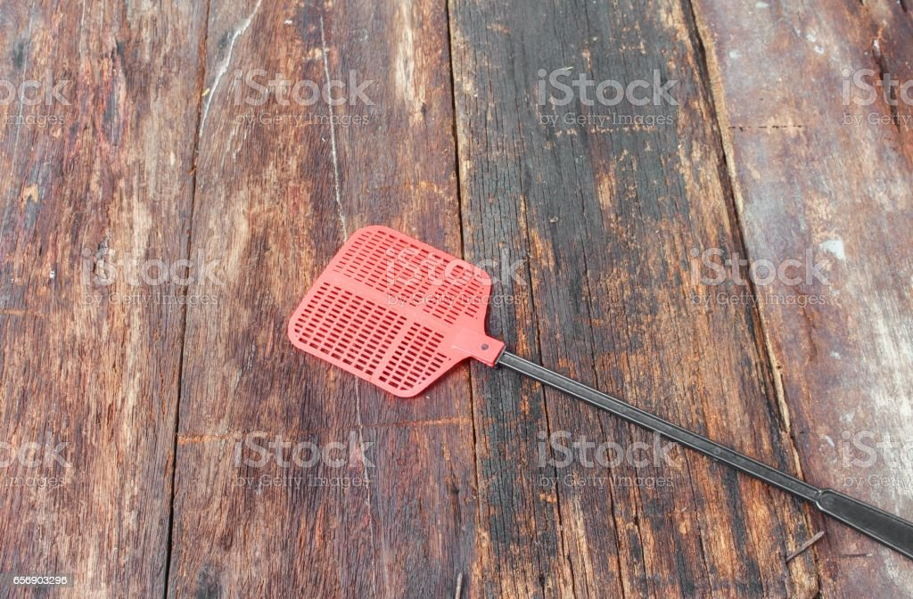 fly swatter. Single flyswatter made of plastic and unfailing stock photo