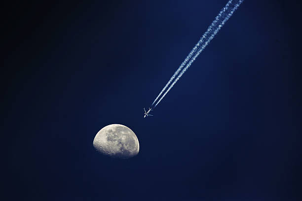 fly to the Moon stock photo